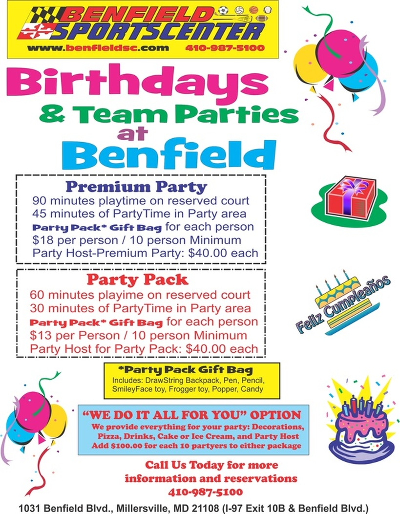 Benfield Sportscenter Birthday Party